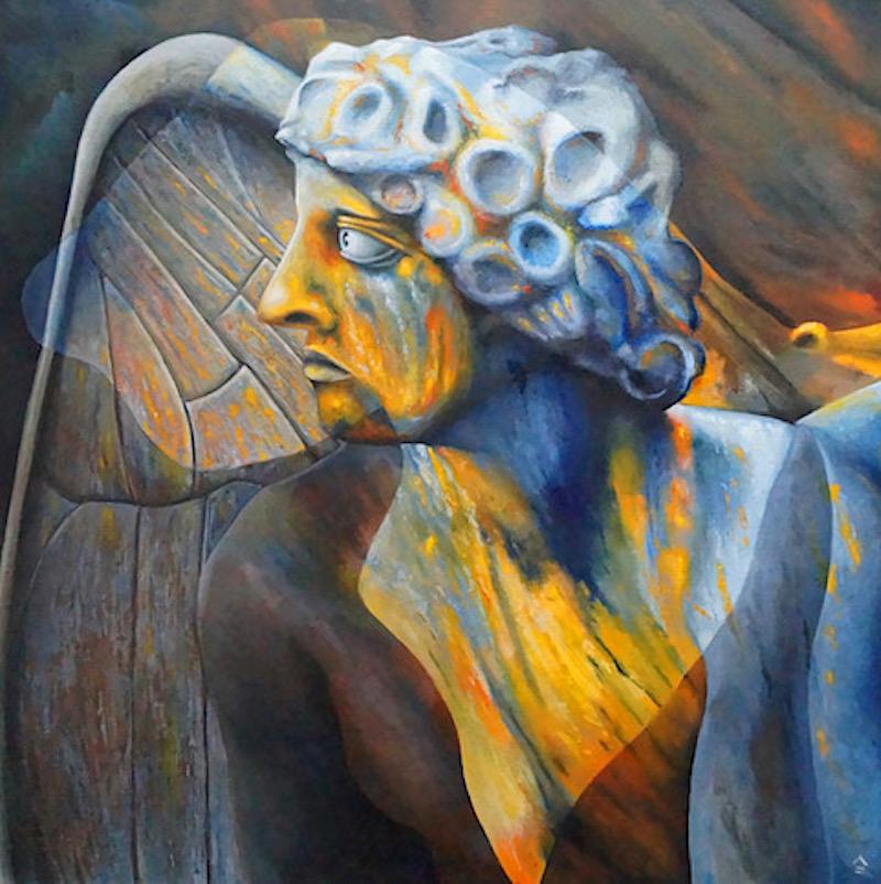 painting by Robert Garnham, angel in a butterflies wing