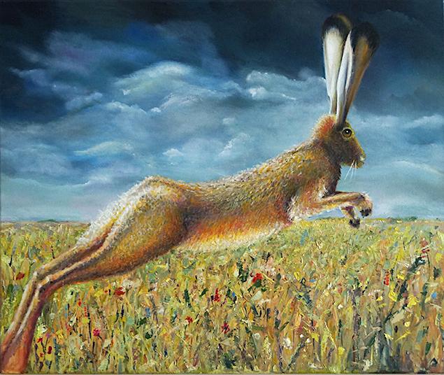 painting Meadow hare on poets run by Robert Garnham