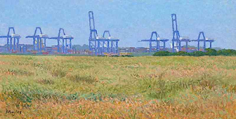 Distant cranes a painting by Brian Perry, shown in IAA series featured artists.